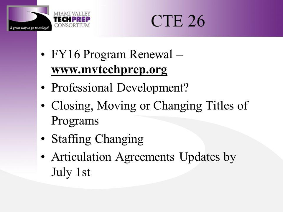 CTE 26 FY16 Program Renewal – www.mvtechprep.org www.mvtechprep.org Professional Development.