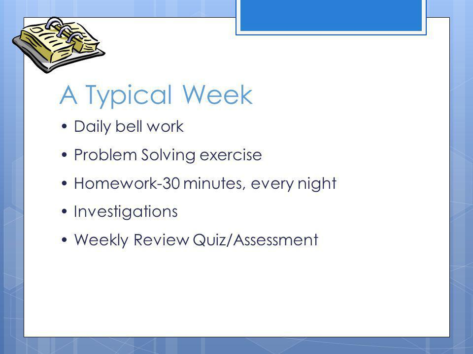 A Typical Week Daily bell work Problem Solving exercise Homework-30 minutes, every night Investigations Weekly Review Quiz/Assessment