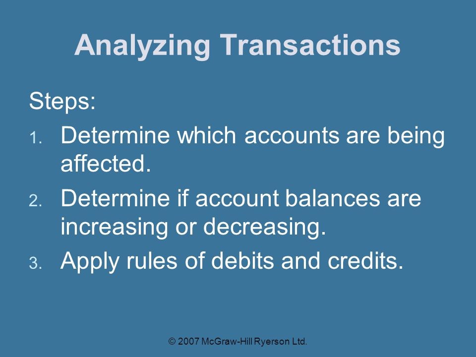 Steps: 1.Determine which accounts are being affected.