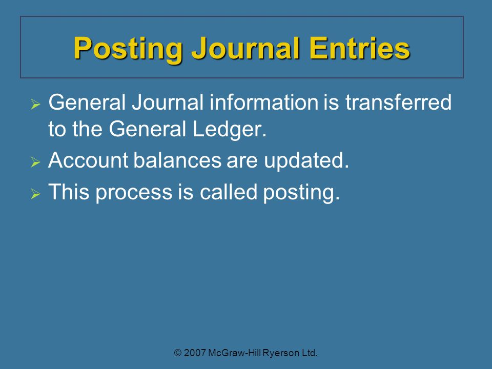 General Journal information is transferred to the General Ledger.