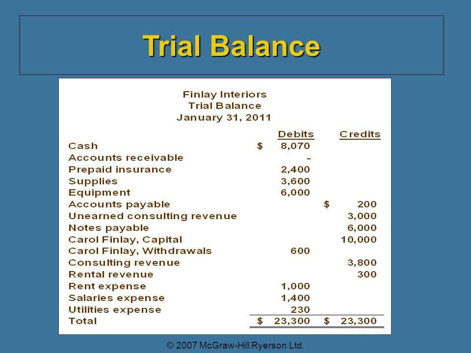 Trial Balance © 2007 McGraw-Hill Ryerson Ltd.
