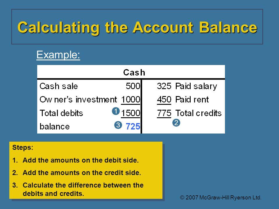 Steps: 1.Add the amounts on the debit side.2.Add the amounts on the credit side.