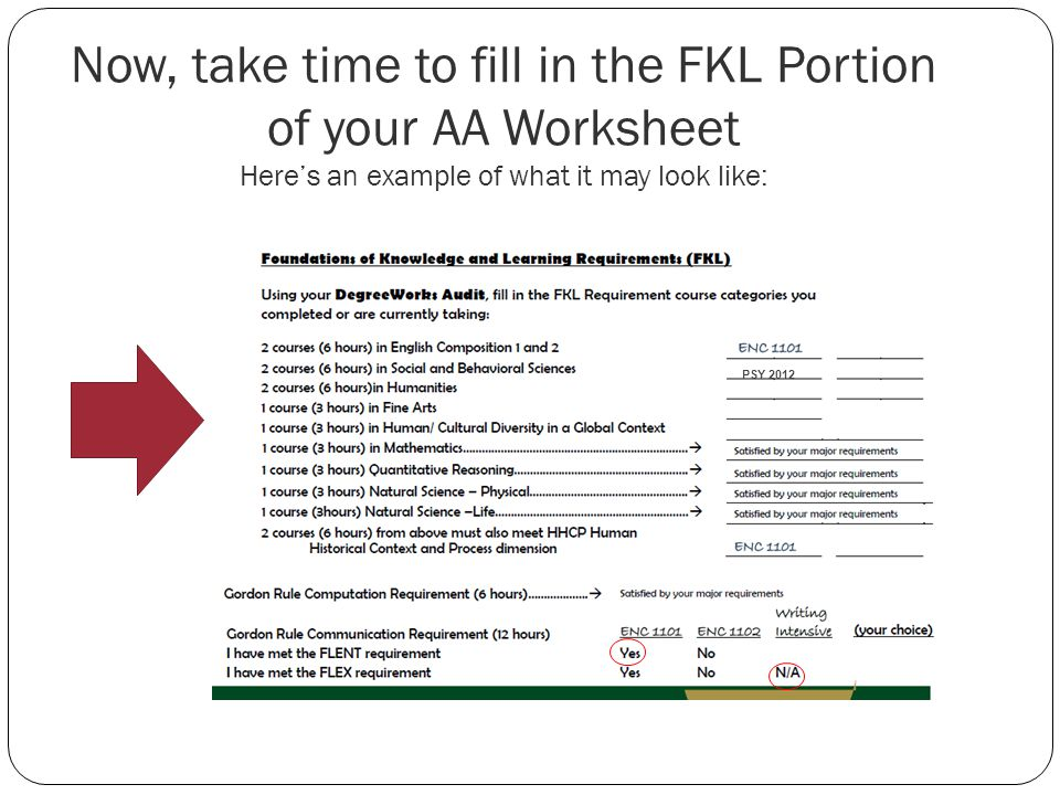 Now, take time to fill in the FKL Portion of your AA Worksheet Heres an example of what it may look like: PSY 2012