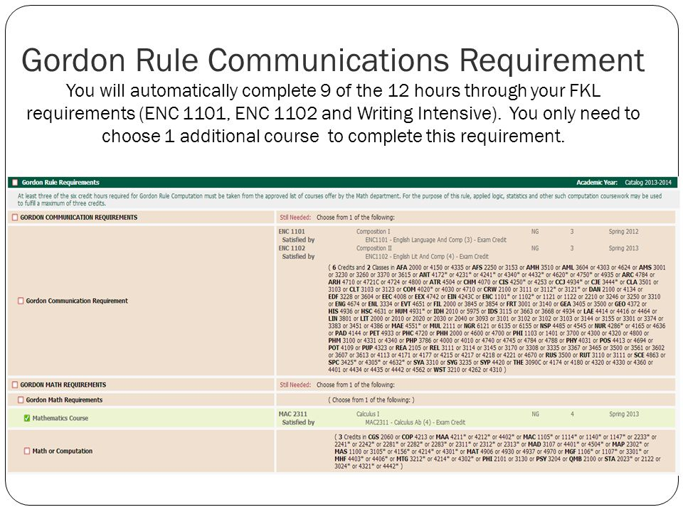 Gordon Rule Communications Requirement You will automatically complete 9 of the 12 hours through your FKL requirements (ENC 1101, ENC 1102 and Writing Intensive).