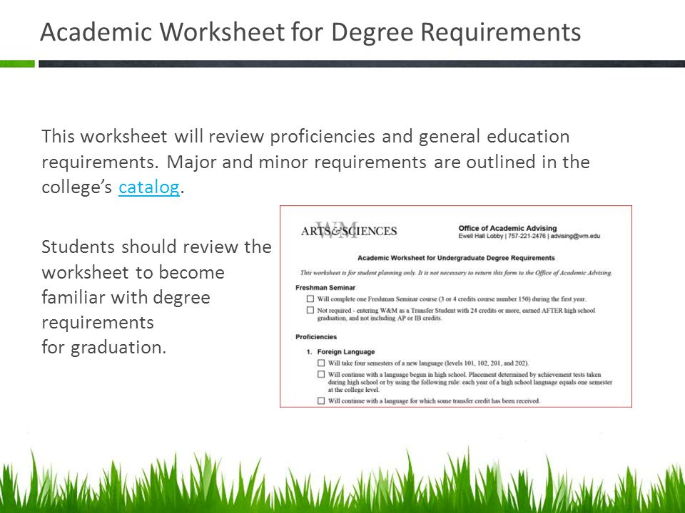 Academic Worksheet for Degree Requirements This worksheet will review proficiencies and general education requirements. Major and minor requirements a
