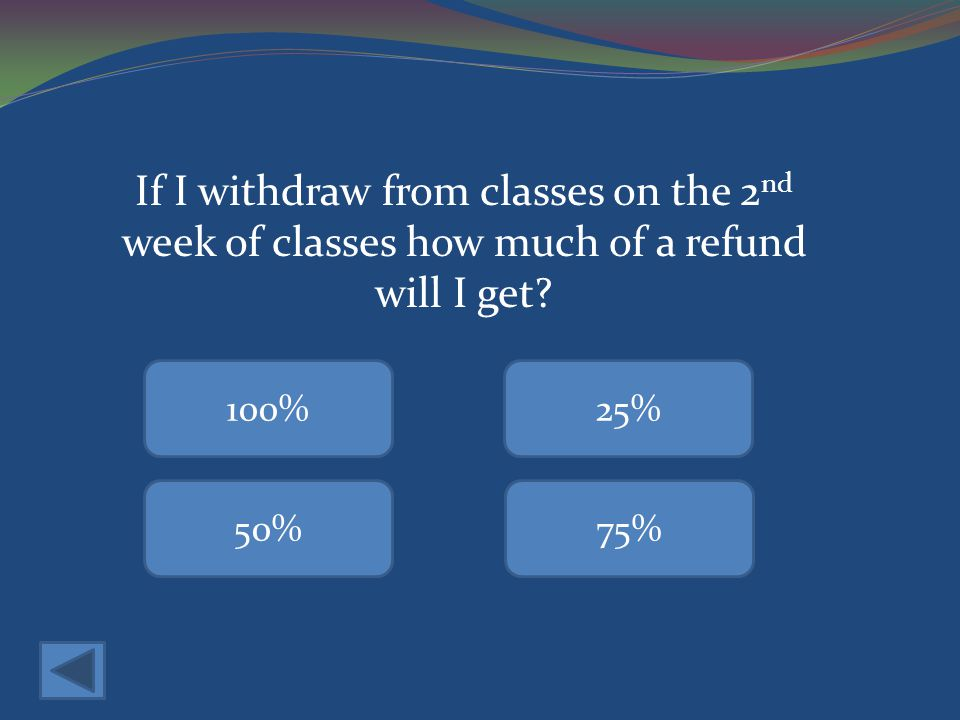 If I withdraw from classes on the 2 nd week of classes how much of a refund will I get.