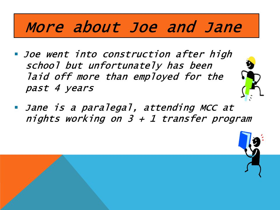 More about Joe and Jane Joe went into construction after high school but unfortunately has been laid off more than employed for the past 4 years Jane