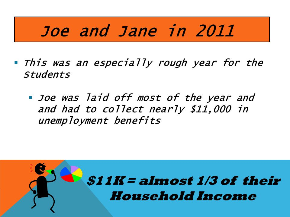 Joe and Jane in 2011 This was an especially rough year for the Students Joe was laid off most of the year and and had to collect nearly $11,000 in une