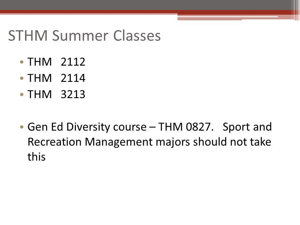 STHM Summer Classes THM 2112 THM 2114 THM 3213 Gen Ed Diversity course – THM 0827.