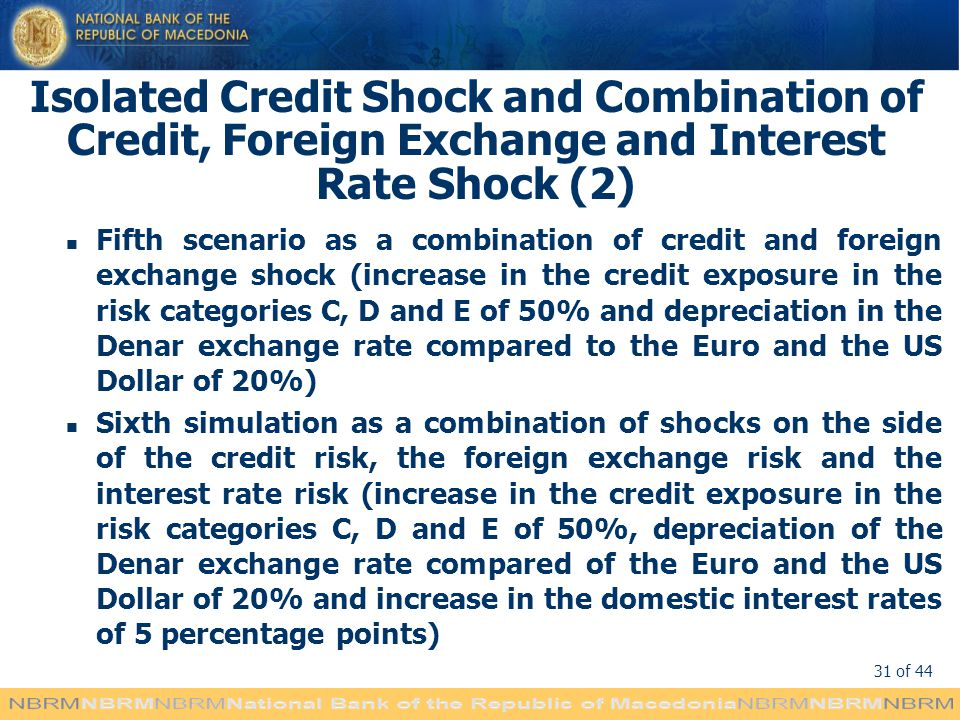 31 of 44 Isolated Credit Shock and Combination of Credit, Foreign Exchange and Interest Rate Shock (2) Fifth scenario as a combination of credit and foreign exchange shock (increase in the credit exposure in the risk categories C, D and E of 50% and depreciation in the Denar exchange rate compared to the Euro and the US Dollar of 20%) Sixth simulation as a combination of shocks on the side of the credit risk, the foreign exchange risk and the interest rate risk (increase in the credit exposure in the risk categories C, D and E of 50%, depreciation of the Denar exchange rate compared of the Euro and the US Dollar of 20% and increase in the domestic interest rates of 5 percentage points)