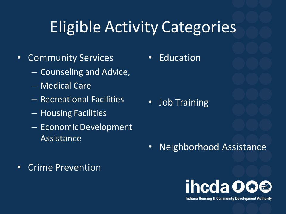 Eligible Activity Categories Community Services – Counseling and Advice, – Medical Care – Recreational Facilities – Housing Facilities – Economic Deve