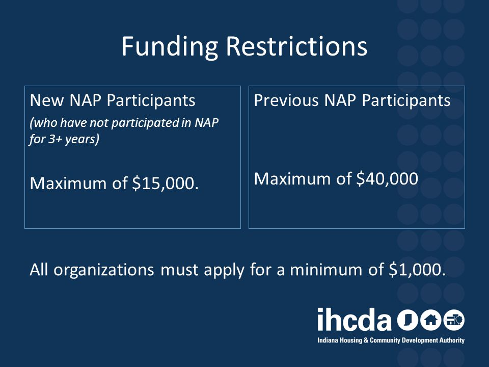Funding Restrictions New NAP Participants (who have not participated in NAP for 3+ years) Maximum of $15,000. Previous NAP Participants Maximum of $40