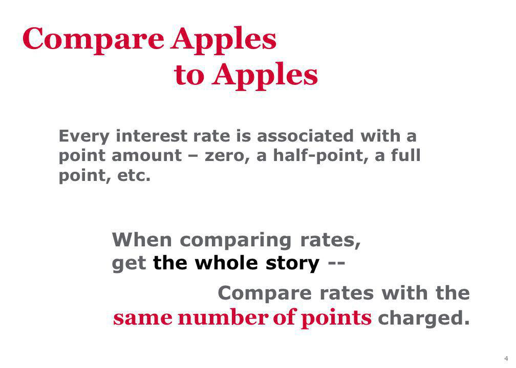 4 Compare Apples to Apples Every interest rate is associated with a point amount – zero, a half-point, a full point, etc.