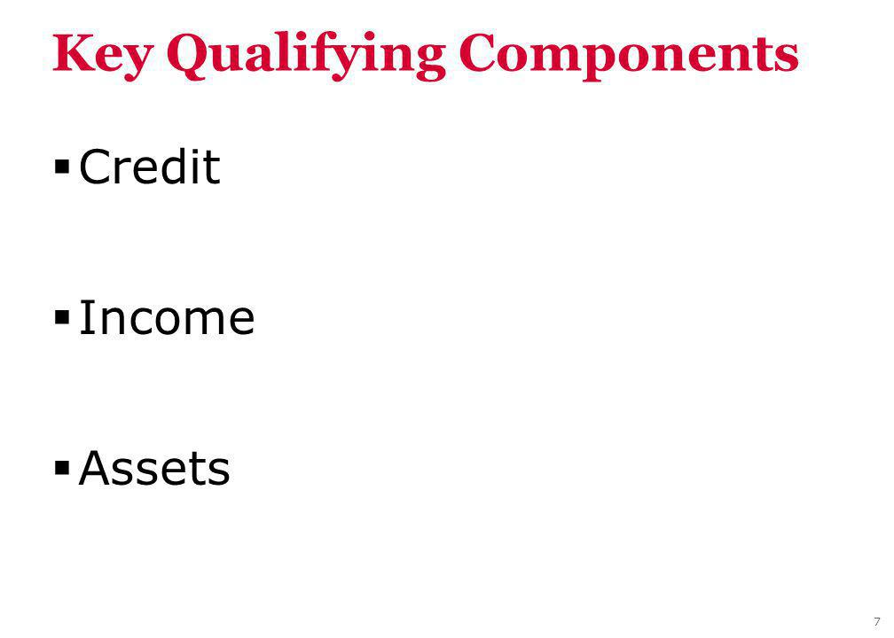 Key Qualifying Components Credit Income Assets 7