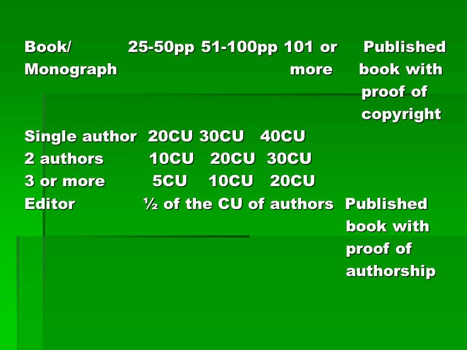 Book/ 25-50pp 51-100pp 101 or Published Monograph more book with proof of proof of copyright copyright Single author 20CU 30CU 40CU 2 authors 10CU 20C