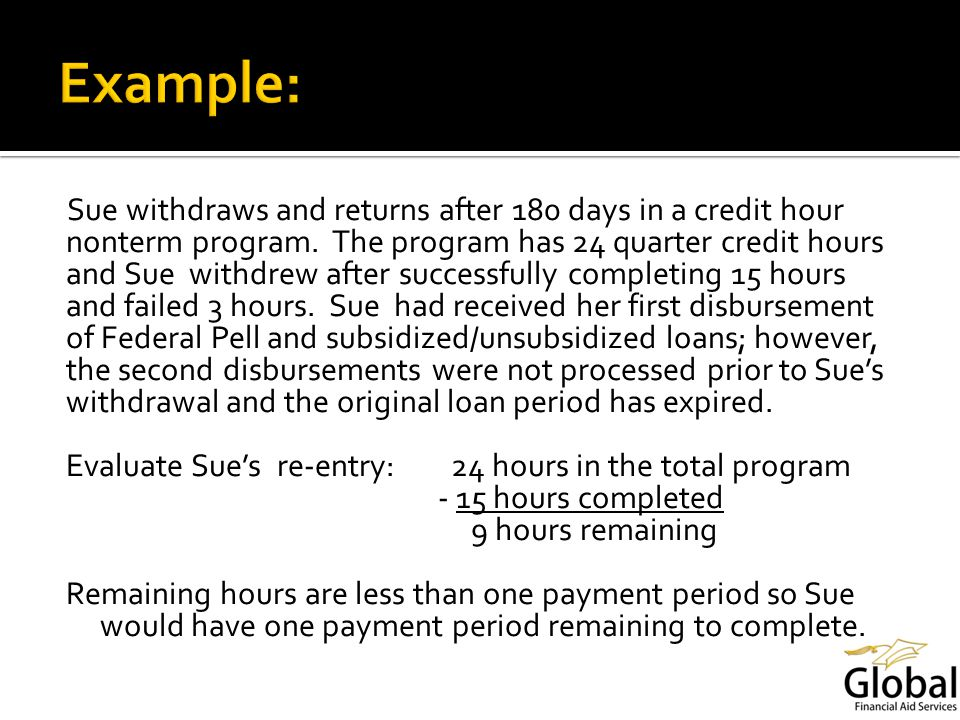 Sue withdraws and returns after 180 days in a credit hour nonterm program.