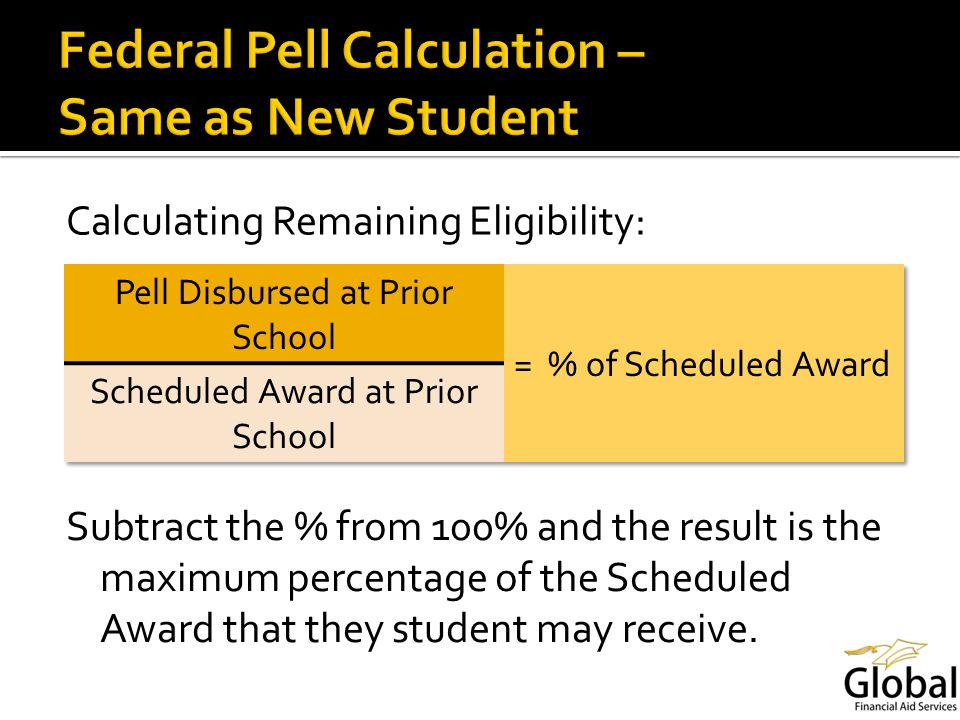 Calculating Remaining Eligibility: Subtract the % from 100% and the result is the maximum percentage of the Scheduled Award that they student may receive.