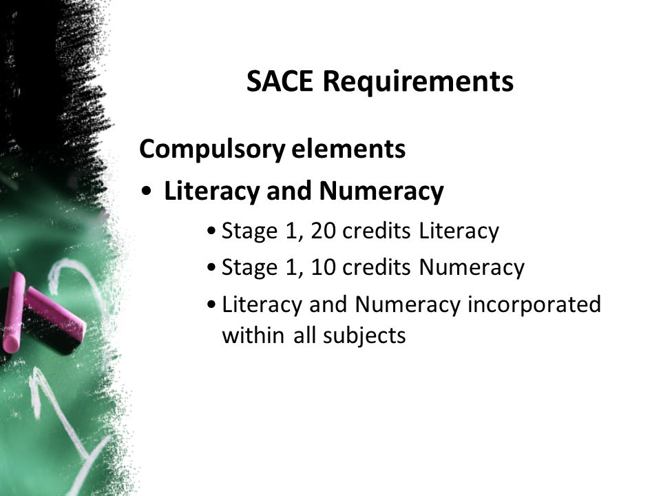 Compulsory elements Literacy and Numeracy Stage 1, 20 credits Literacy Stage 1, 10 credits Numeracy Literacy and Numeracy incorporated within all subj
