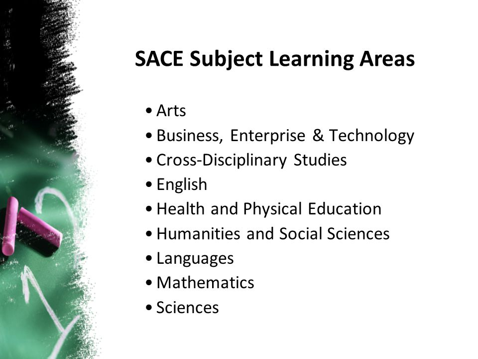 Arts Business, Enterprise & Technology Cross-Disciplinary Studies English Health and Physical Education Humanities and Social Sciences Languages Mathematics Sciences SACE Subject Learning Areas