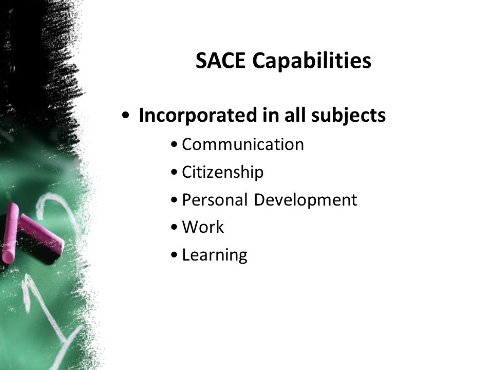 Incorporated in all subjects Communication Citizenship Personal Development Work Learning SACE Capabilities