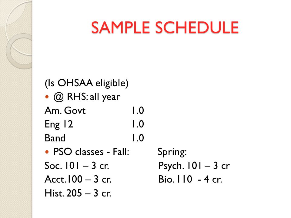 SAMPLE SCHEDULE (Is OHSAA eligible) @ RHS: all year Am.