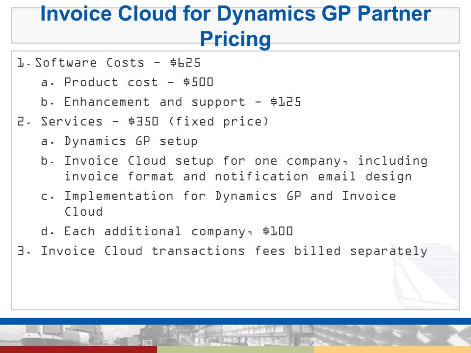 Invoice Cloud for Dynamics GP Partner Pricing 1.
