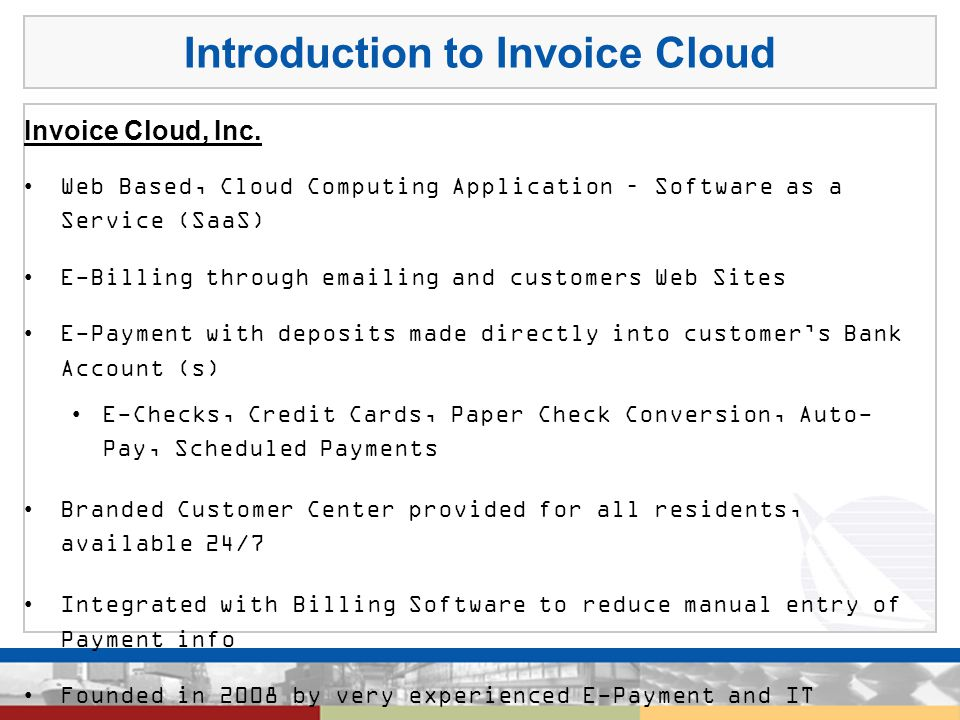 Introduction to Invoice Cloud Invoice Cloud, Inc.