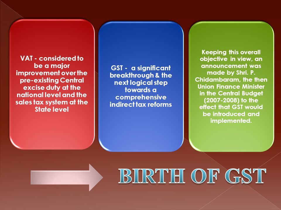 It should be primarily in the nature of indirect taxes, either on the supply of goods or on the supply of services It should be part of the transaction chain - commences with import/ manufacture/ production of goods or provision of services at one end & the consumption of goods and services at the other It should result in free flow of tax credit Taxes, levies & fees – not relating to supply of goods & services should not be subsumed Revenue fairness for both the Union and the States
