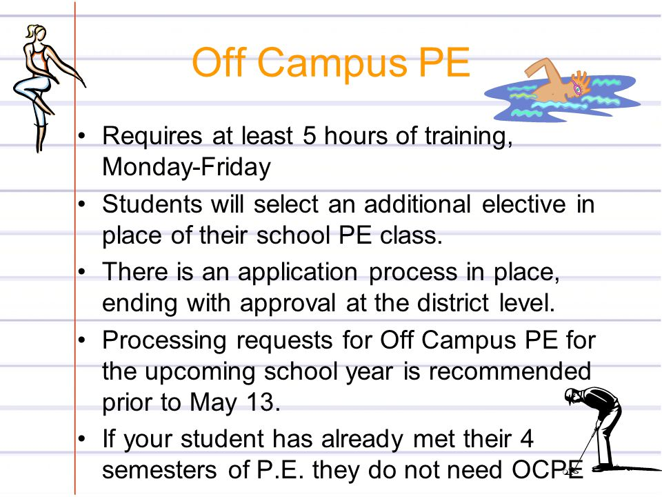 Off Campus PE Requires at least 5 hours of training, Monday-Friday Students will select an additional elective in place of their school PE class. Ther