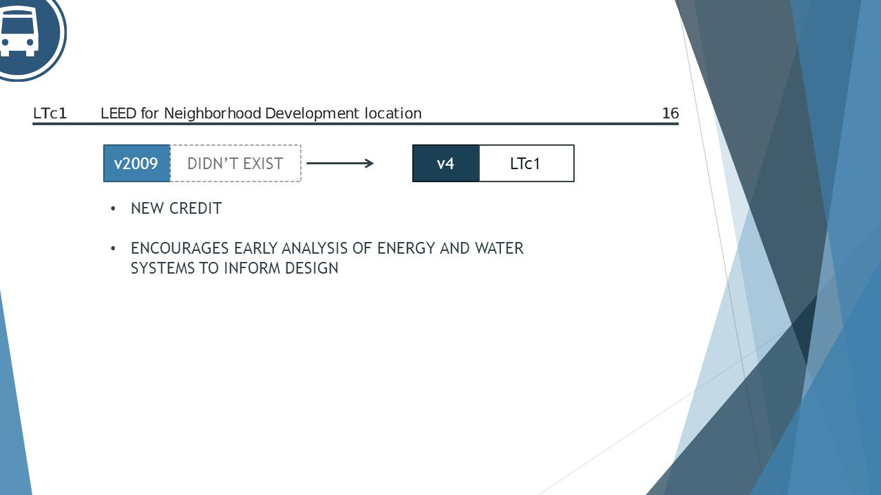 NEW CREDIT ENCOURAGES EARLY ANALYSIS OF ENERGY AND WATER SYSTEMS TO INFORM DESIGN v2009DIDNT EXISTv4LTc1