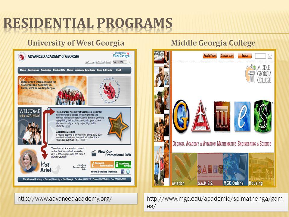 Middle Georgia College http://www.mgc.edu/academic/scimathenga/gam es/ University of West Georgia http://www.advancedacademy.org/