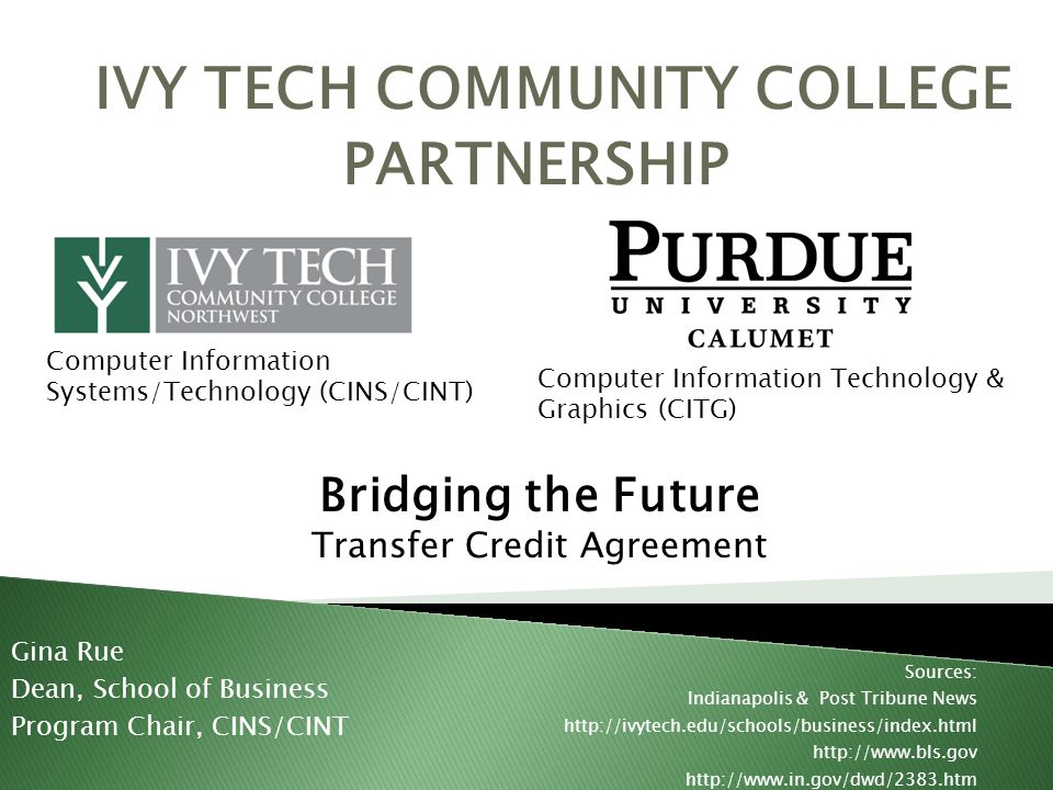 59% of students cited transfer to a four-year college or university as a primary or secondary goal for enrolling at Ivy Tech Transfer curricula that meet expectations of four-year universities is part of our mission Ivy Tech serves the public by maintaining academic partnerships and collaborations through agreements aimed at mobility