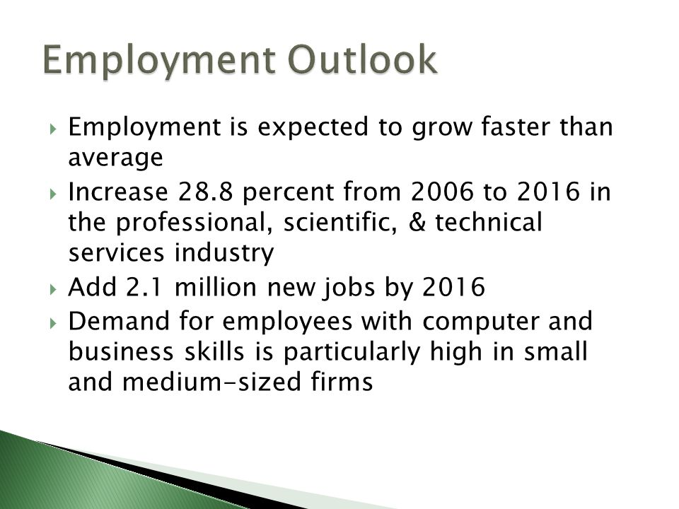 Employment is expected to grow faster than average Increase 28.8 percent from 2006 to 2016 in the professional, scientific, & technical services industry Add 2.1 million new jobs by 2016 Demand for employees with computer and business skills is particularly high in small and medium-sized firms