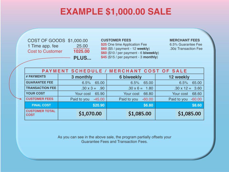 6/25/2009Version 1.035 $1,070.00$1,085.00