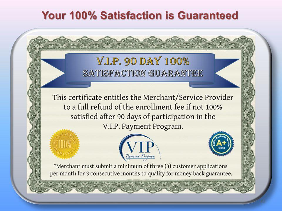 43 Your 100% Satisfaction is Guaranteed