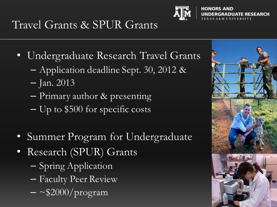 Travel Grants & SPUR Grants Undergraduate Research Travel Grants – Application deadline Sept.