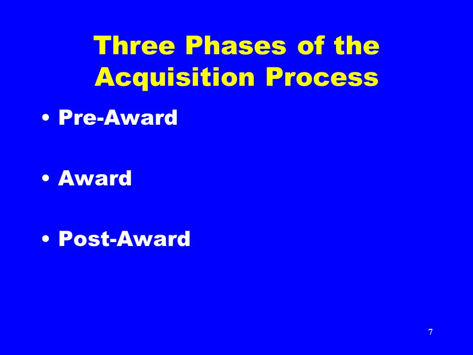 8 Methods of Procurement Micro Purchases (Credit Cards, $1-$3,000) Simplified Acquisitions ($3,000- $5.5 Million) Sealed Bids (Price only) Invitation for Bid (IFB) Negotiated (Price or Cost) Request For Quote (RFQ) (Price only) Request For Proposal (RFP) (Price or Cost Data) Sources Sought (Information only) Request for Information (RFI)