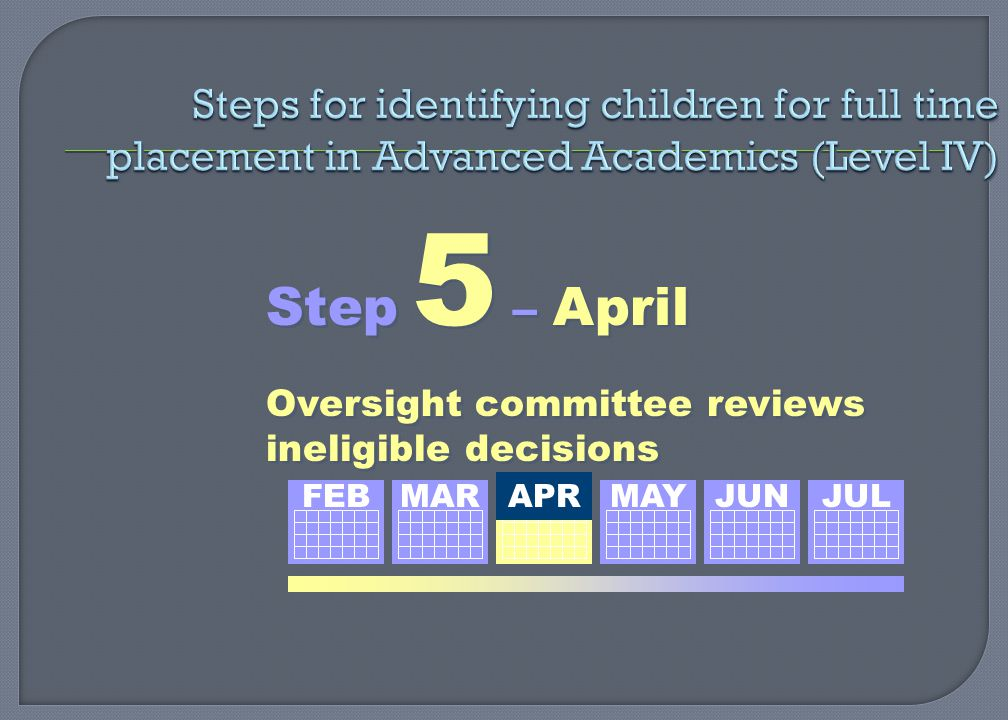Step 5 – April Oversight committee reviews ineligible decisions Step 5 – April Oversight committee reviews ineligible decisions FEBMAR APR MAY JUN JUL