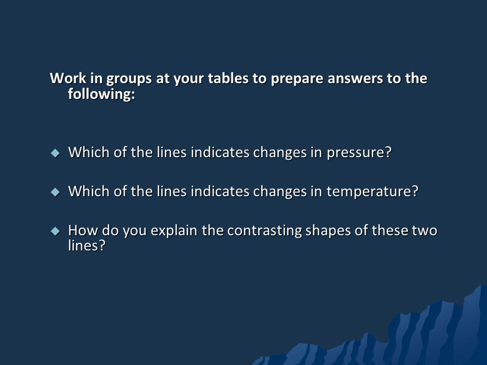 Work in groups at your tables to prepare answers to the following: Which of the lines indicates changes in pressure.