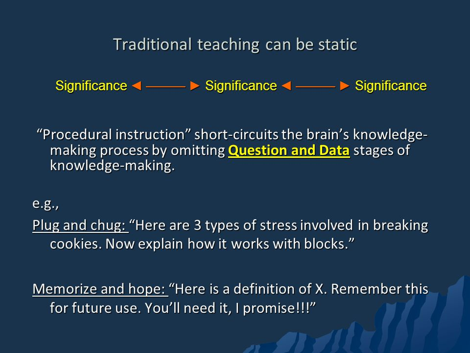 Traditional teaching can be static Significance Significance Significance Procedural instruction short-circuits the brains knowledge- making process by omitting Question and Data stages of knowledge-making.