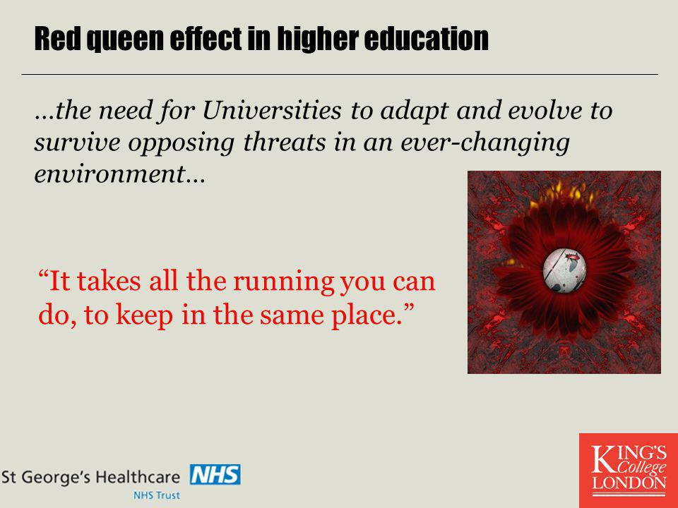 Red queen effect in higher education …the need for Universities to adapt and evolve to survive opposing threats in an ever-changing environment… It ta