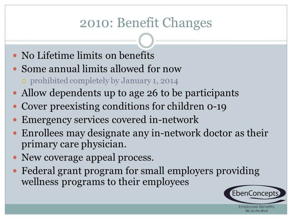 2010: Benefit Changes No Lifetime limits on benefits Some annual limits allowed for now prohibited completely by January 1, 2014 Allow dependents up to age 26 to be participants Cover preexisting conditions for children 0-19 Emergency services covered in-network Enrollees may designate any in-network doctor as their primary care physician.