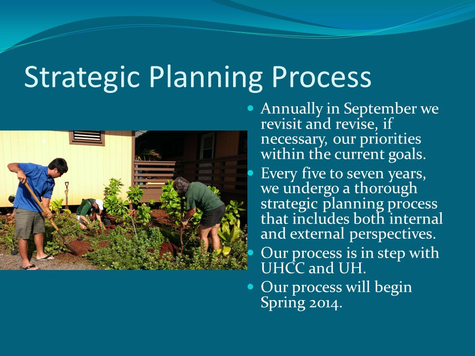 Strategic Planning Process Annually in September we revisit and revise, if necessary, our priorities within the current goals.