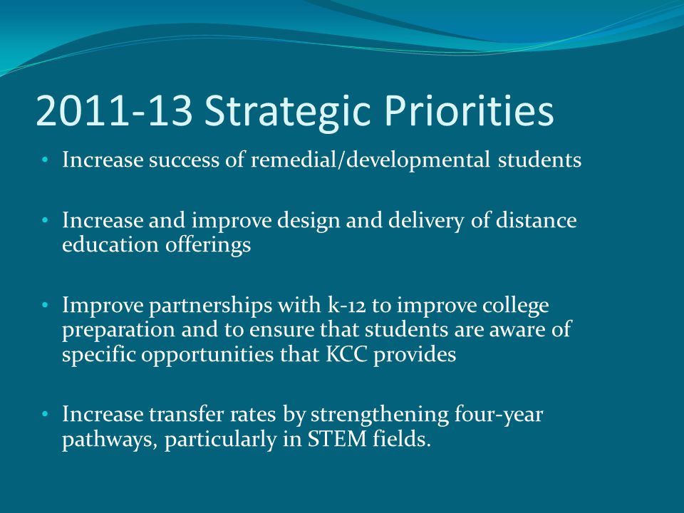 2011-13 Strategic Priorities Increase success of remedial/developmental students Increase and improve design and delivery of distance education offerings Improve partnerships with k-12 to improve college preparation and to ensure that students are aware of specific opportunities that KCC provides Increase transfer rates by strengthening four-year pathways, particularly in STEM fields.