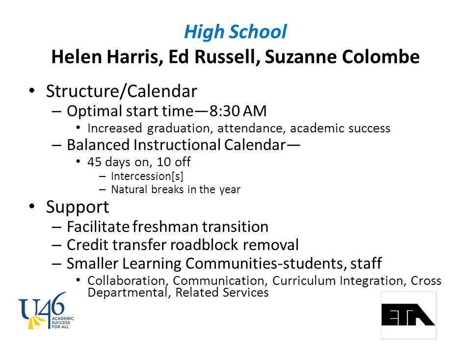 High School Helen Harris, Ed Russell, Suzanne Colombe Structure/Calendar – Optimal start time8:30 AM Increased graduation, attendance, academic success – Balanced Instructional Calendar 45 days on, 10 off – Intercession[s] – Natural breaks in the year Support – Facilitate freshman transition – Credit transfer roadblock removal – Smaller Learning Communities-students, staff Collaboration, Communication, Curriculum Integration, Cross Departmental, Related Services