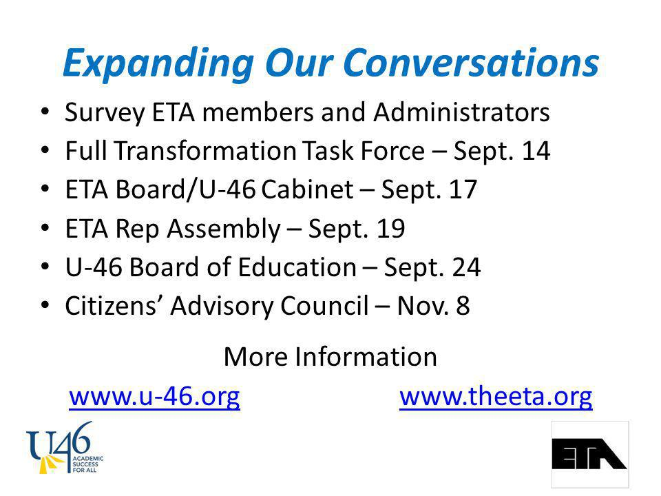 Expanding Our Conversations Survey ETA members and Administrators Full Transformation Task Force – Sept.