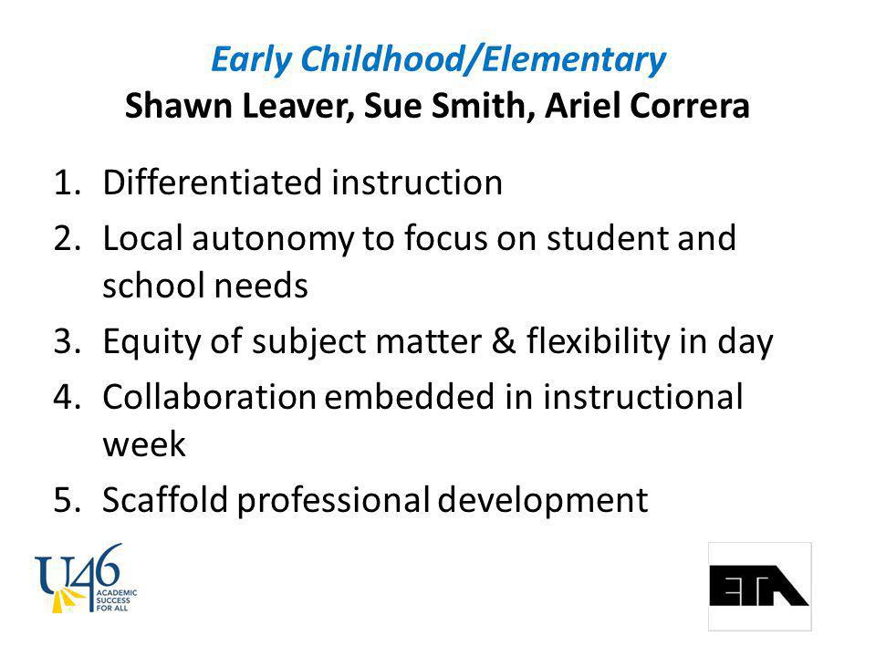Early Childhood/Elementary Shawn Leaver, Sue Smith, Ariel Correra 1.Differentiated instruction 2.Local autonomy to focus on student and school needs 3.Equity of subject matter & flexibility in day 4.Collaboration embedded in instructional week 5.Scaffold professional development