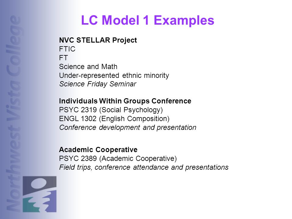 LC Model 1 Examples NVC STELLAR Project FTIC FT Science and Math Under-represented ethnic minority Science Friday Seminar Individuals Within Groups Co