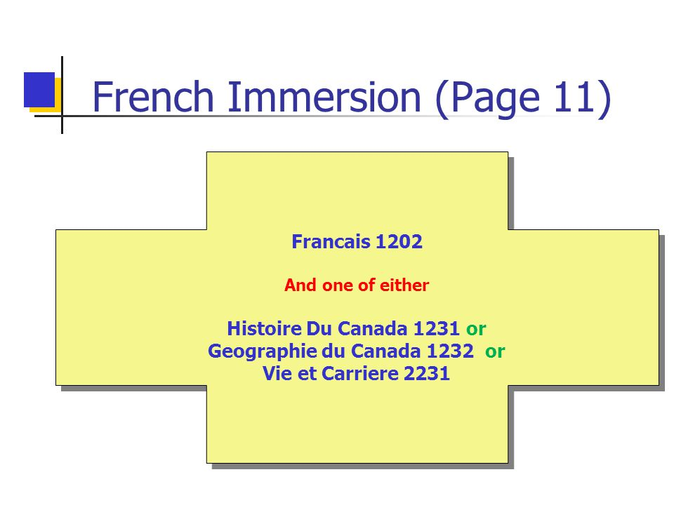 French Immersion (Page 11) Francais 1202 And one of either Histoire Du Canada 1231 or Geographie du Canada 1232 or Vie et Carriere 2231 Francais 1202 And one of either Histoire Du Canada 1231 or Geographie du Canada 1232 or Vie et Carriere 2231
