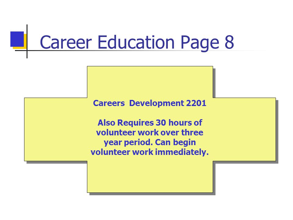 Career Education Page 8 Careers Development 2201 Also Requires 30 hours of volunteer work over three year period.